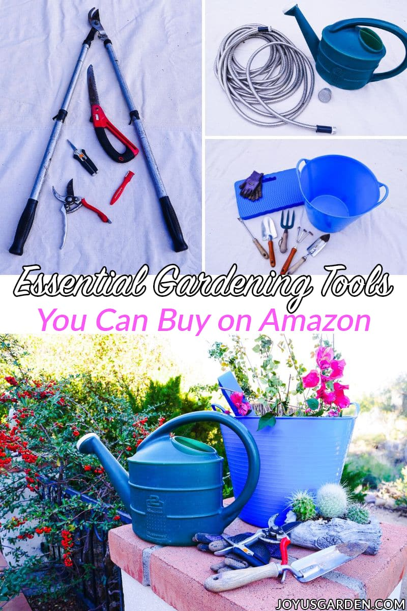 a collage featuring tools used for gardening the text reads essential gardening tools you can buy on amazon