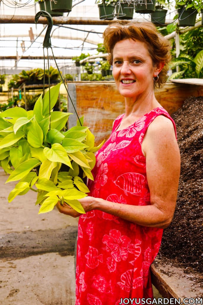nell foster in a pink dress holds a vibrant neon pothos