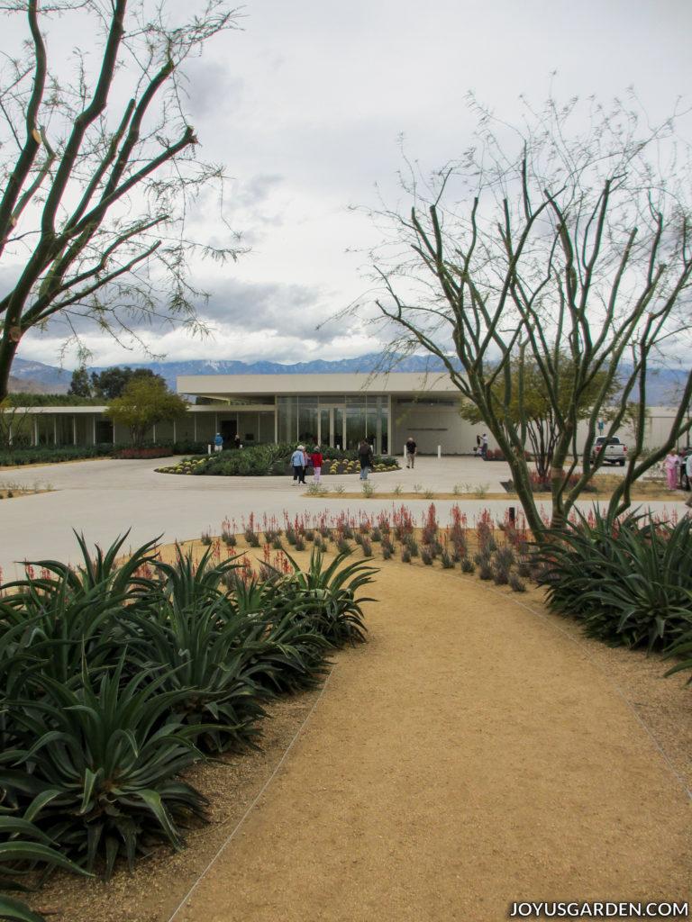 a mid-century modern building behind a cactus garden
