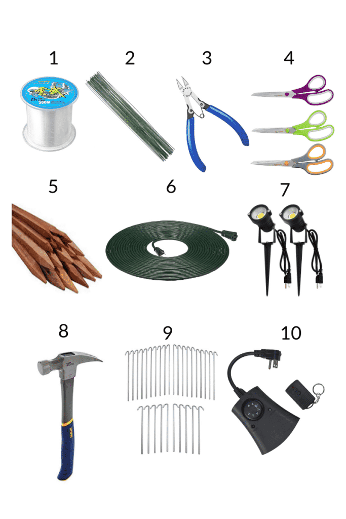 a collage showing 10 tools & supplies needed to create an outdoor halloween cemetery scene