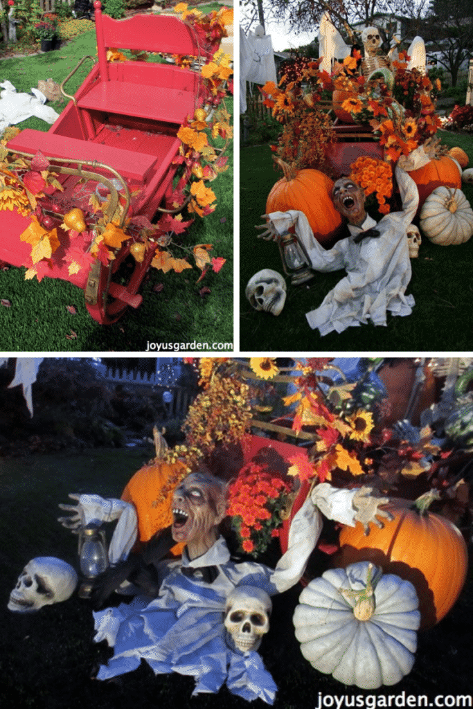 a collage of 3 photos showing colorful outdoor halloween yard decorations