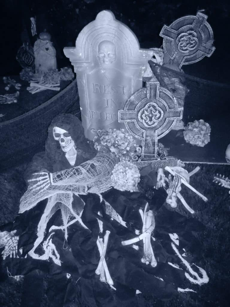 close up black and white photo of halloween decor, skulls, tombstones