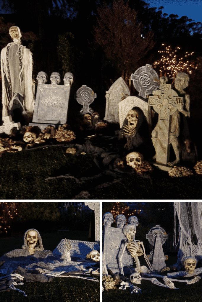 a collage of 3 photos showing a spooky halloween graveyard scene in a front yard at night