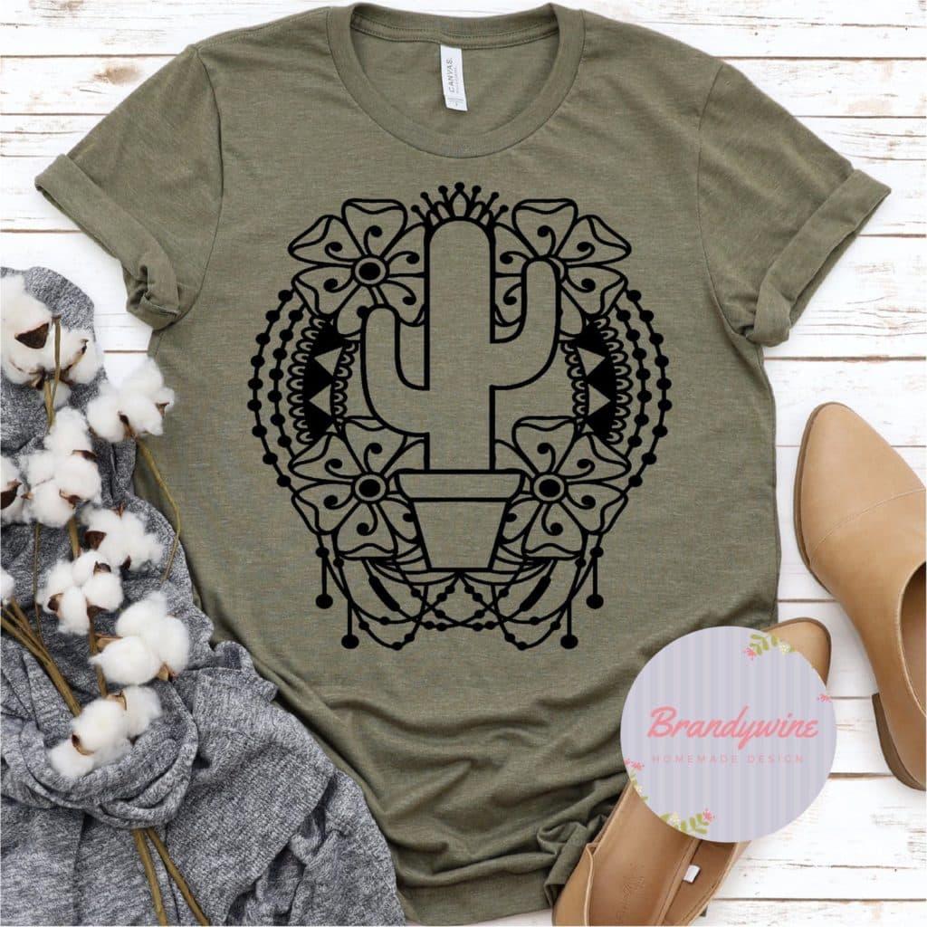 desert cacti Mandela green t-shirt