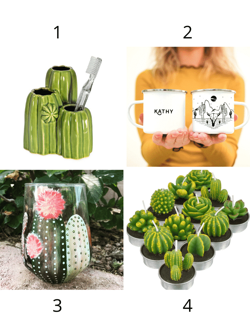 a cactus shaped toothbrush holder, two mugs, a cactus mug, and some cactus shaped candles