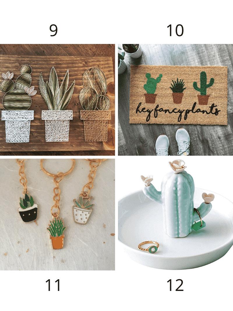 cactus keychain, cactus door mat, cactus ring holder