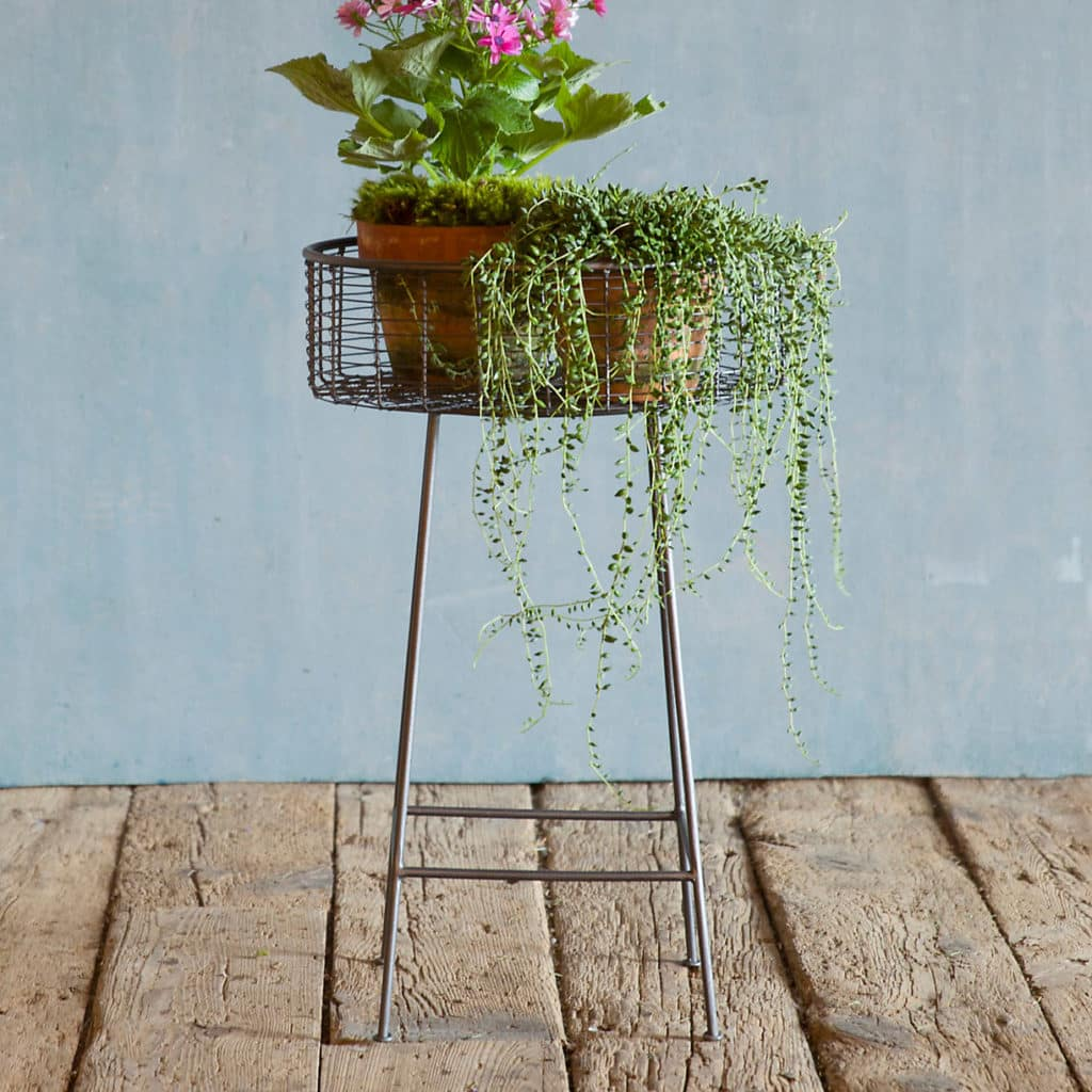 wrought iron circle plant stand with long legs