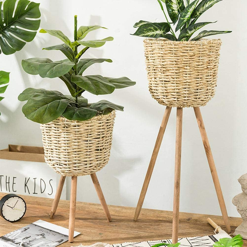 woven basket with wooden legs plant stand