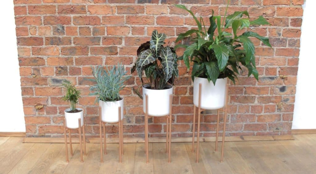 four white plant pots on copper mid-century modern stands