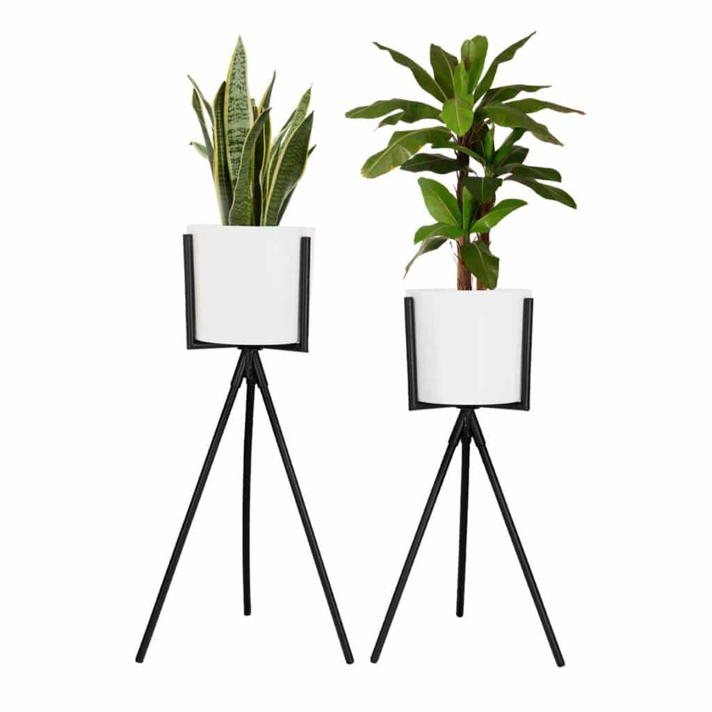 two white plant pots in black mid-century modern stands