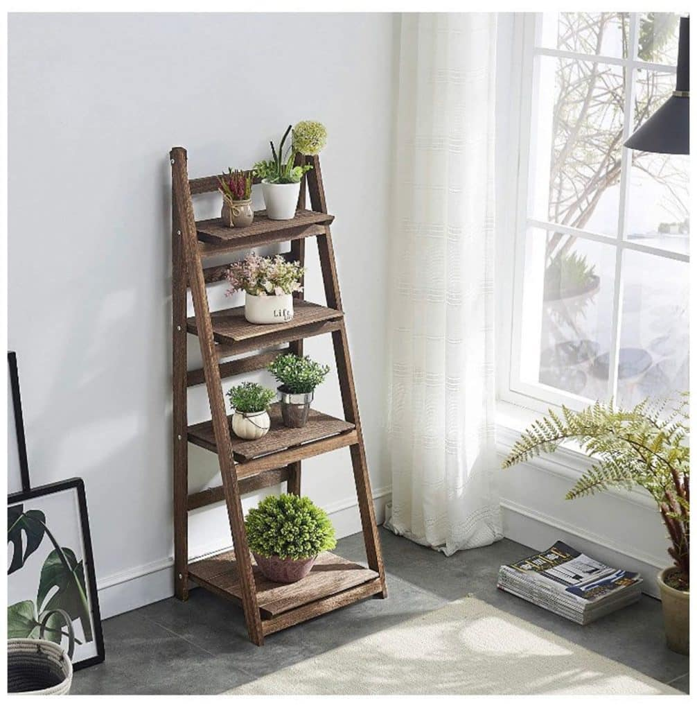 wooden shelves plant stand