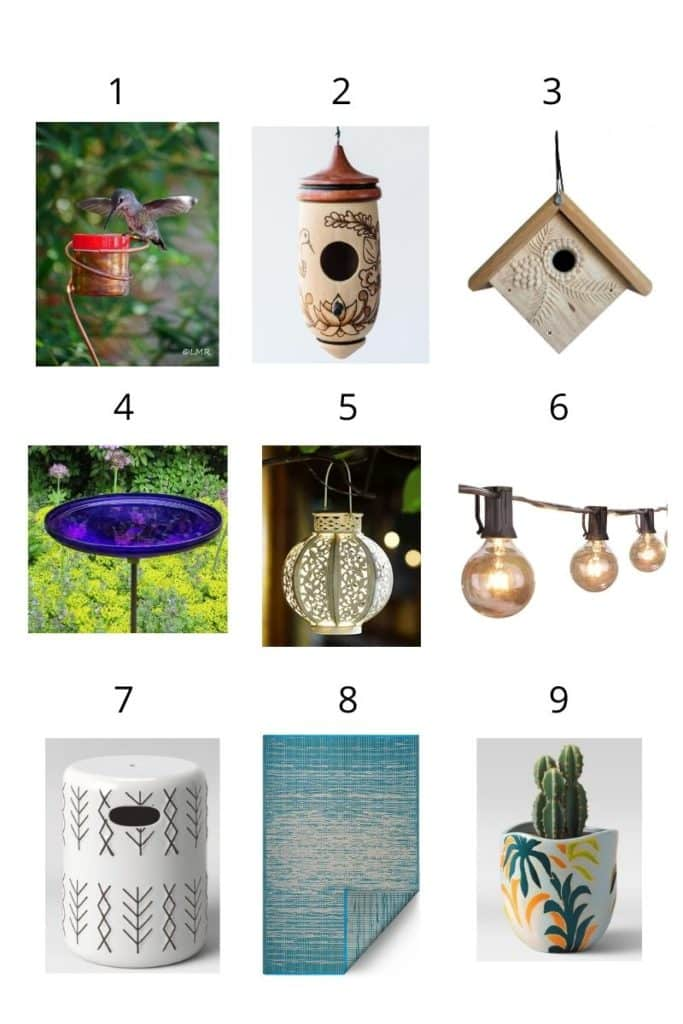 a collage showing 9 garden gift ideas