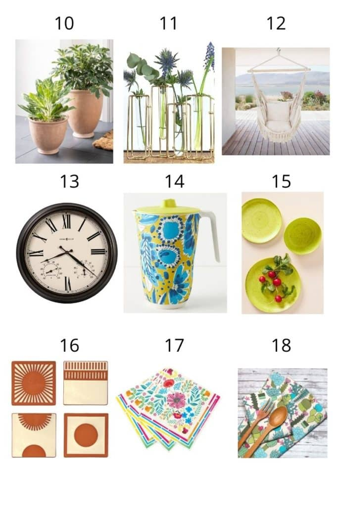 a collage showing 9 garden related gift ideas