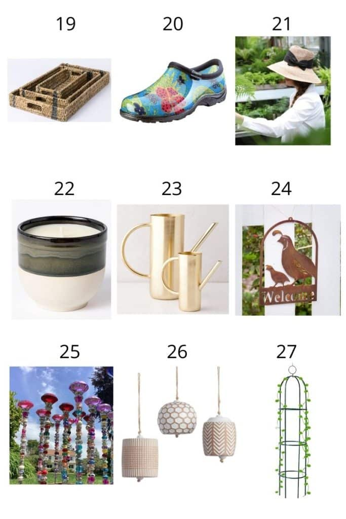 a collage showing 9 garden gift ideas for her
