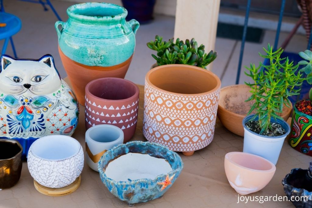 a variety of decorative ceramic & terra cotta pots for succulents
