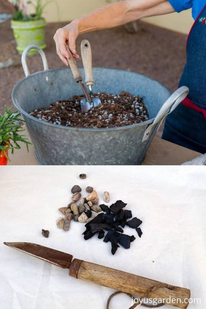 a collage consisting of 2 photos the top shows a tin bowl full of succulent mix & the lower a small trowel with drainage materials