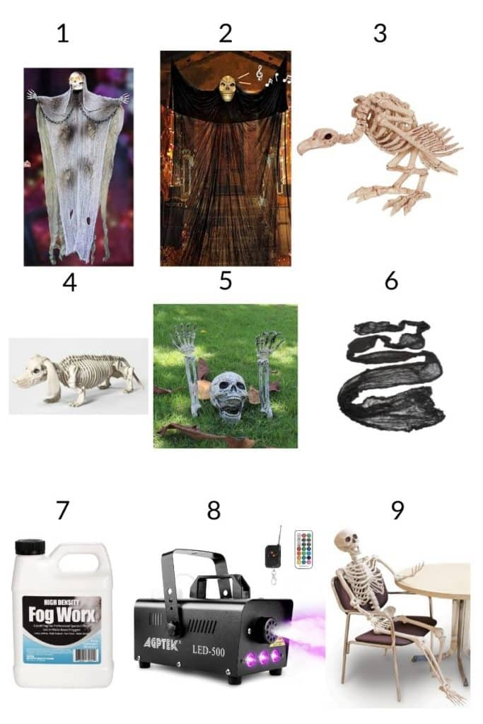 a collage showing 9 props & a fog machine you'll need for a halloween graveyard DIY