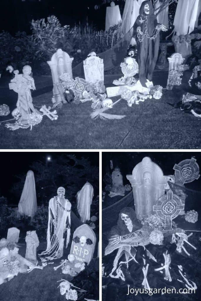 a collage of 3 spooky Halloween graveyard photos including Halloween tombstones, bones, skulls & ghouls in black & white