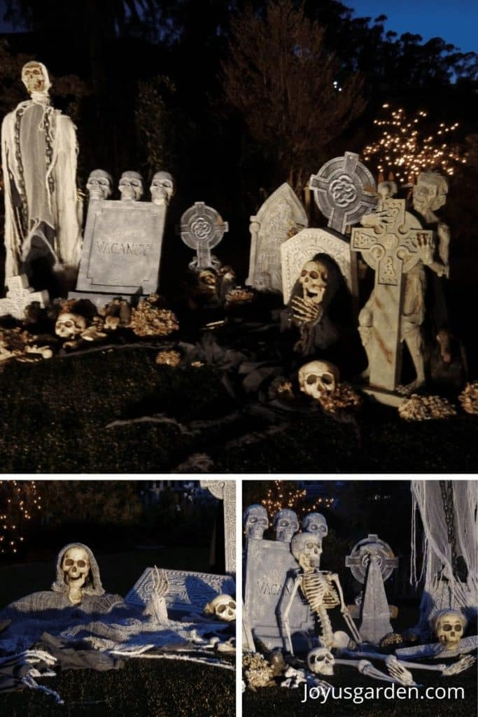 a collage of 3 different photos of a Halloween cemetery scene shot at night