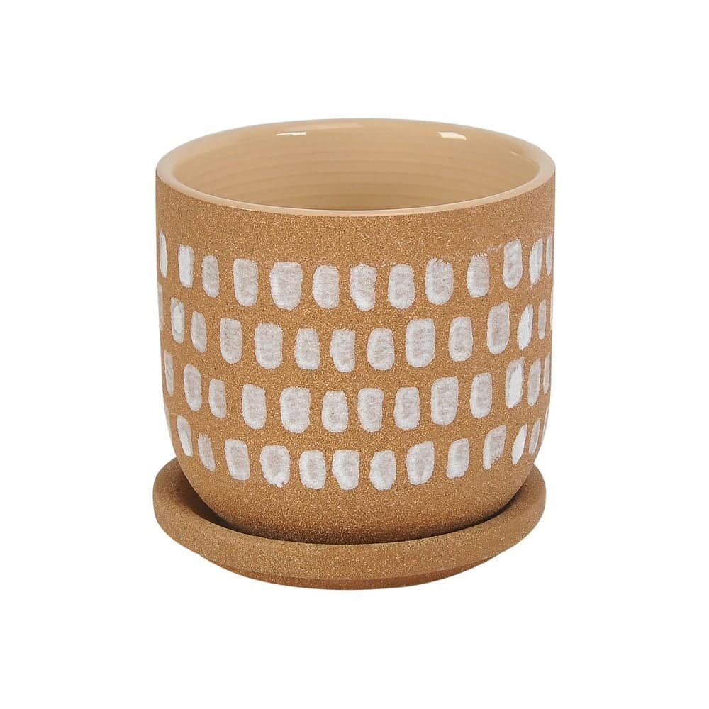 stoneware planter with saucer from overstock