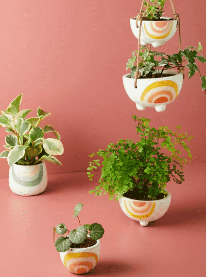 5 pots 2 are hanging pots with rainbow style design from anthropologie