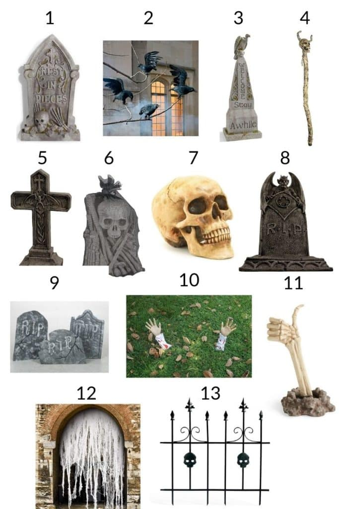 a collage showing 13 props & decorations to create a halloween graveyard scene
