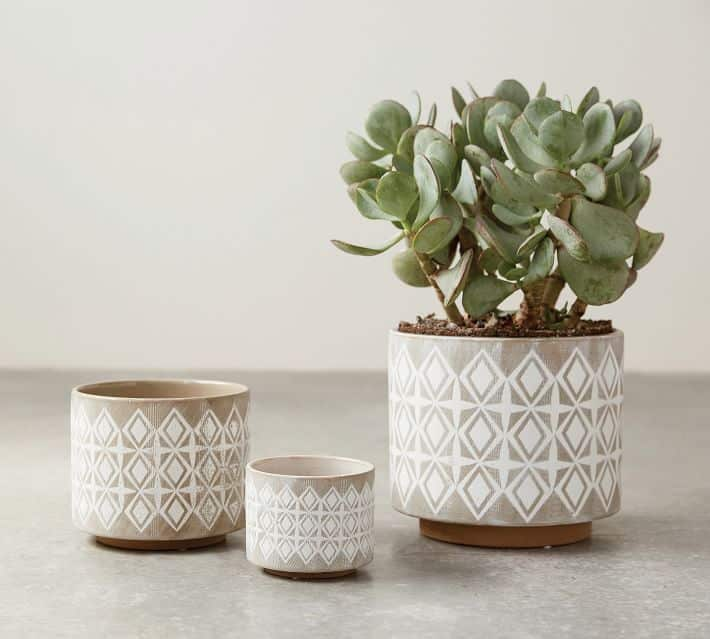 3 patterned stoneware planters with kaleidoscopic design from pottery barn