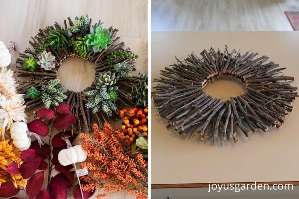 a twig wreath surrounded by fall decorative pumpkins, leaves, berries, and flowers