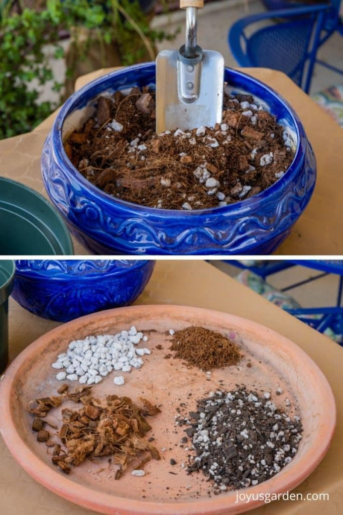 a collage with 2 photos the tops shows a blue ceramic bowl with a trowel & the bottom a terra cotta saucer with 4 soil amendments in piles