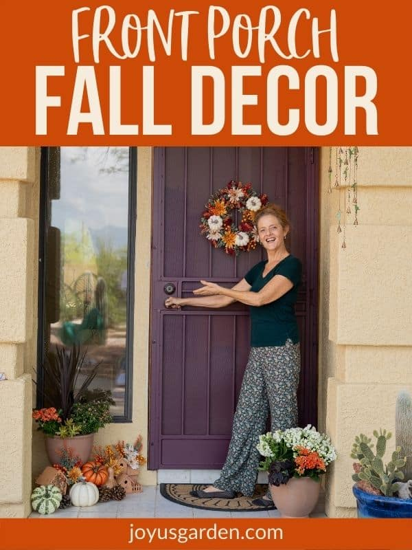 nell foster stands outside at the front door with fall front porch decor ideas the textt reads front porch fall decor