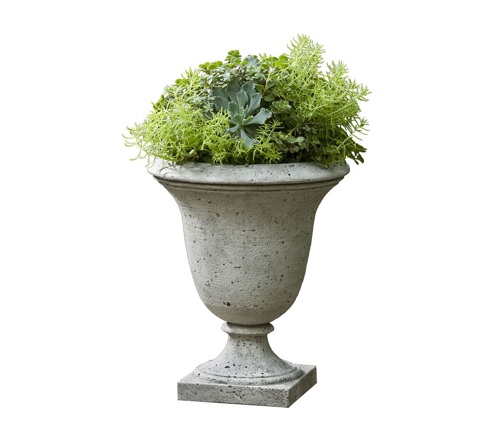 urn with a mix of plants potted inside